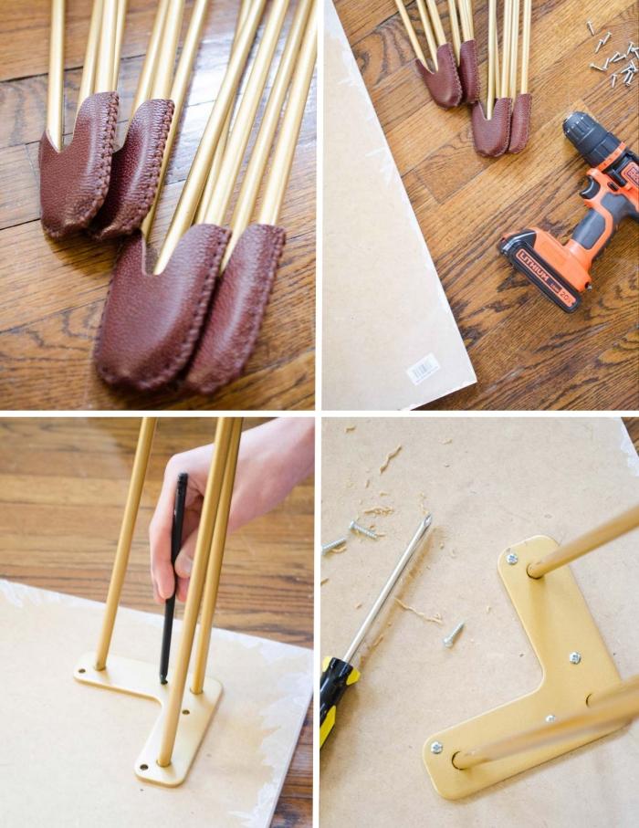étapes à suivre pour réaliser facilement un bureau maison en blanc avec pieds en épingles de nuance dorée métallique