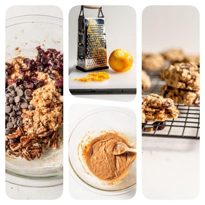 beurre d amande, zeste d orange, pepites de chocolat, flocons d avoine et canneberges séchées aux noix pour faire sablés de noel