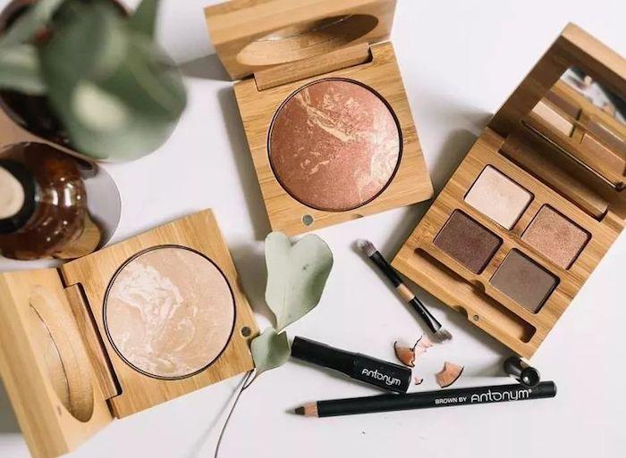 Maquillage dans boites en bois, cadeau eco responsable, originale idée cadeau bio pour elle