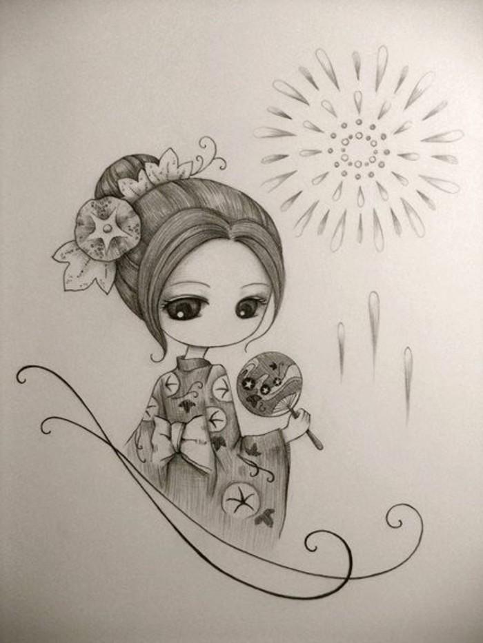 modèle de dessin facile a faire pour enfants, dessin blanc et noir d'une femme habillée en vêtements traditionnels