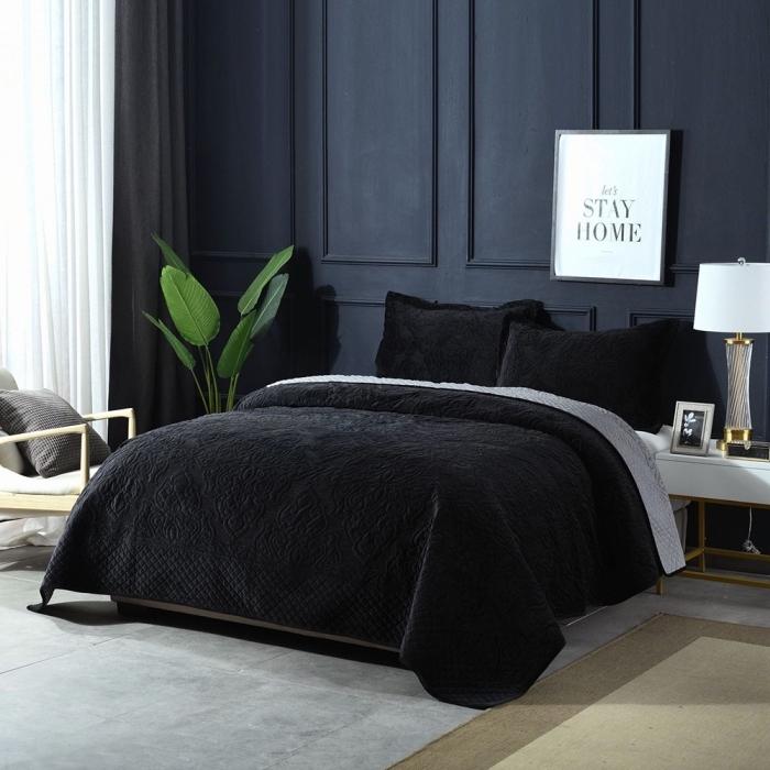 quelle couleur mur chambre tendance 2019, design chambre moderne aux murs bleu foncé avec meubles bois et blanc