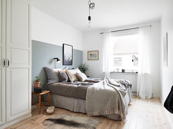Parquet en bois et couleur de peinture pour chambre, comment peindre une chambre à coucher gris et blanc