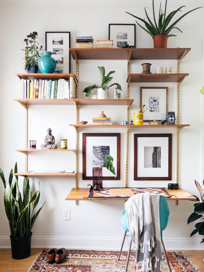 design coin de travail à domicile avec bureau maison en bois, modèle de bureau suspendu avec rangement mural