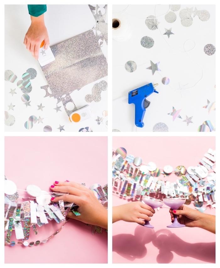 fabriquer une guirlande à motifs papier cercle et étoiles argentées pour decorer un mur, verres de champagne