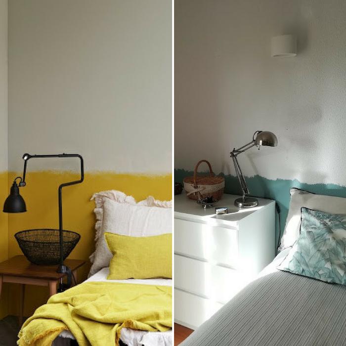 Semi peinte blanche mur avec jaune ou vert, idée comment peindre un mur en deux couleurs, déco peinture chambre adulte