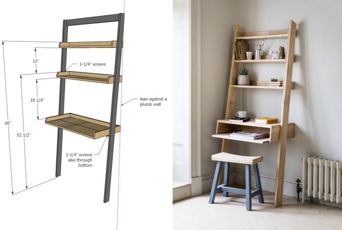 schème pour réaliser un meuble DIY en bois, modèle de petit bureau fait maison en bois avec rangement en forme d'échelle