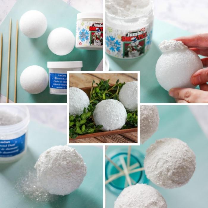 idee deco noel a faire soi meme, pas à pas comment faire des boules de neige avec forme de polystyrène et brochettes en bois