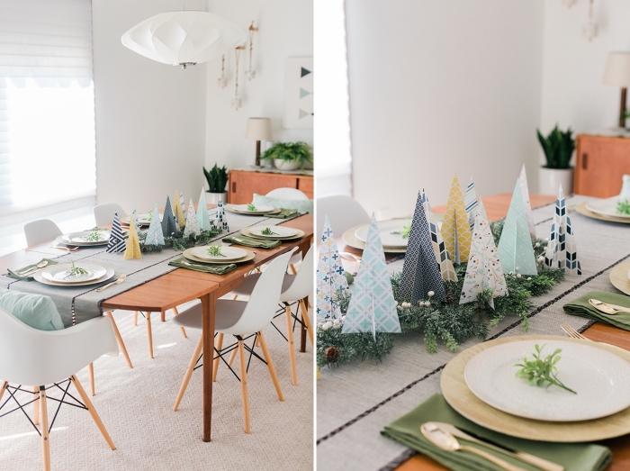 deco de noel a faire soi meme à petit budget, arrangement de table Noël avec branches de sapin et arbres de Noël en papier origami