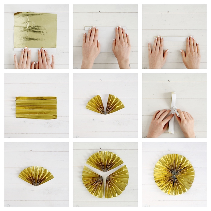 etapes pour fabriquer un e'ventail de papier doré, idee jour de l an decoration facile a faire