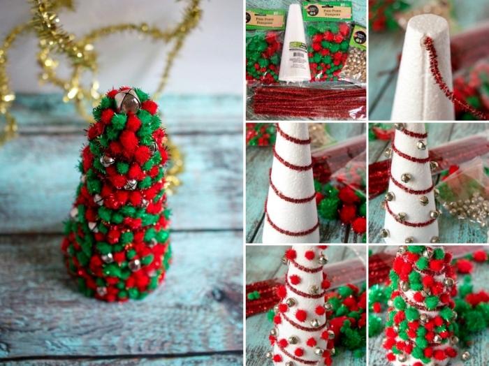idée déco de table à faire soi même, modèle de mini arbre de Noël fait en cône polystyrène décoré avec pompons