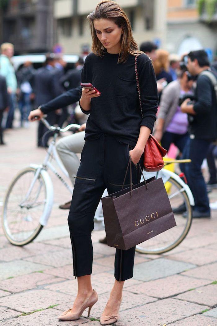 Pantalon trois quarts ensemble noir femme, tenue sport femme célèbre décontracté chic, avoir de swag femme