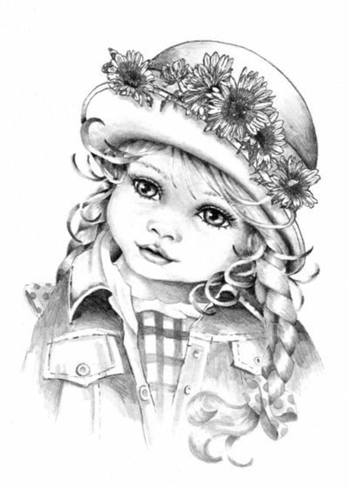comment dessiner un enfant au crayon sur papier blanc, idée de dessin visage facile au crayon d'une petite fille