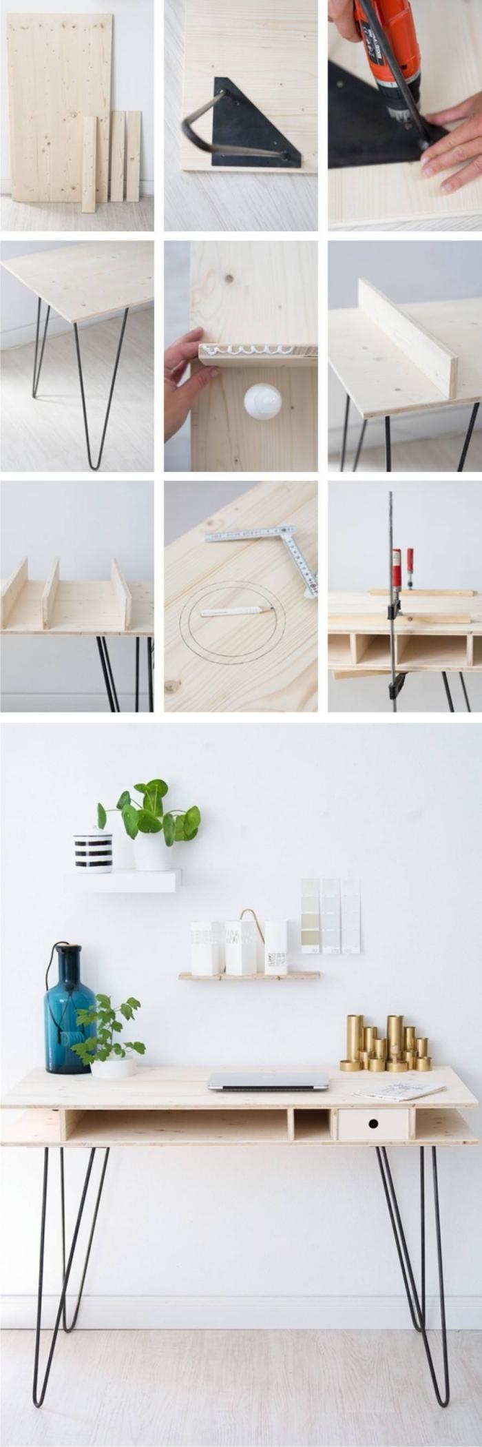 étapes à suivre pour réaliser un diy bureau en bois avec pieds en métal noirci, tutoriel bricolage de bureau moderne