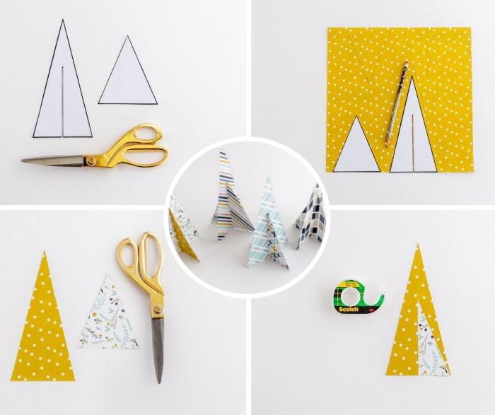 pas à pas facile pour créer un arbre de Noël en papier coloré, comment faire une deco table noel facile en papier