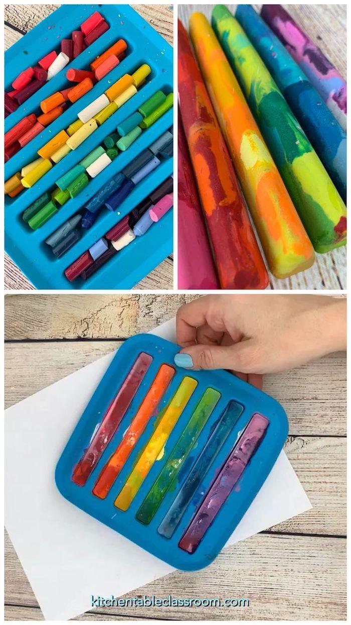 Crayons ou pastels colorés diy des vieux, idée cadeau écolo, inspiration choix cadeau zéro dechet