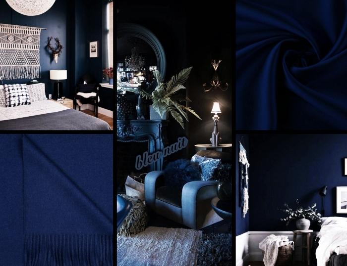 comment décorer une chambre bleu nuit de style moderne avec objets d'esprit bohème chic, diy macramé mural sur mur bleu foncé