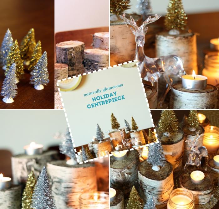 comment réaliser une deco de table chic pour noel, DIY arrangement de Noël avec figurines de sapin artificielles et bougies