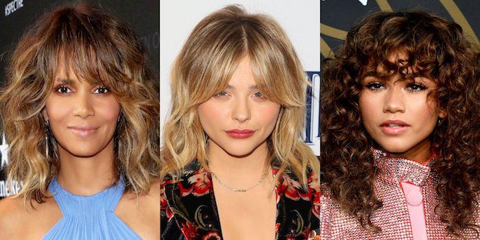 La frange et le dégradé sur cheveux bouclés, trois idées de coiffures différentes couleurs de cheveux, coupe de cheveux femme 2020, modele coiffure femme