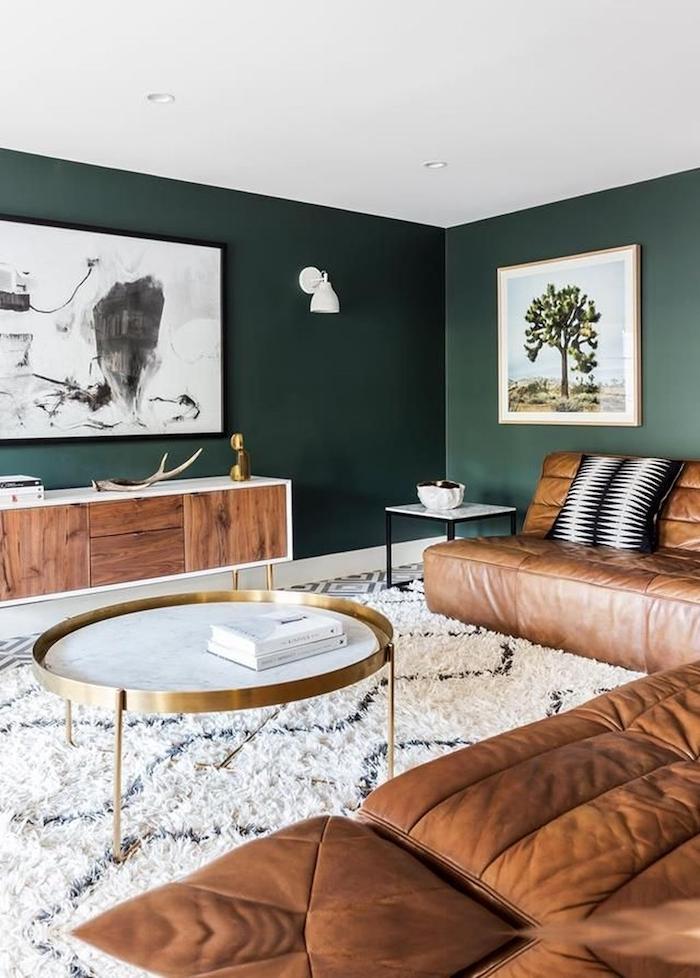 Tendance 2019 murs verts et tapis shaggy blanc géométrique, peindre une chambre en deux couleurs, couleur peinture chambre