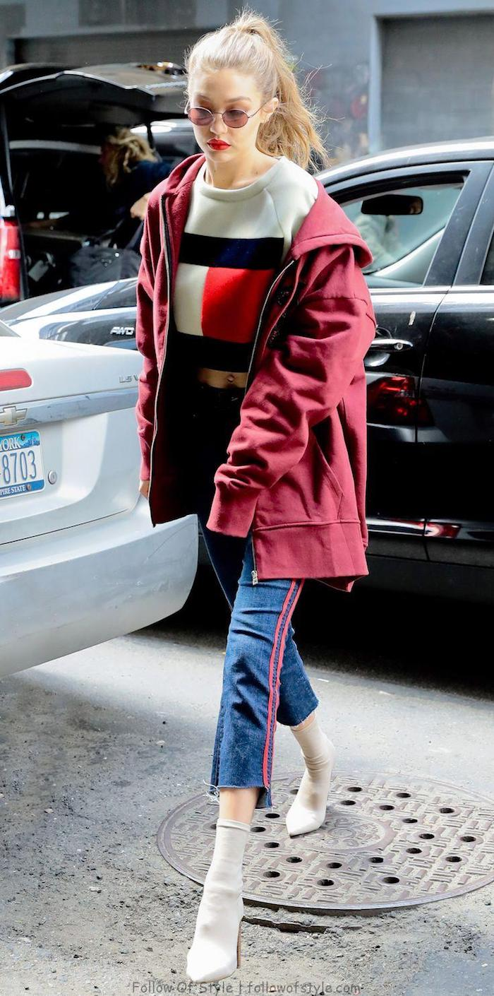 Gigi hadid originale idée tenue, survetement velour femme, comment savoir comment s'habiller