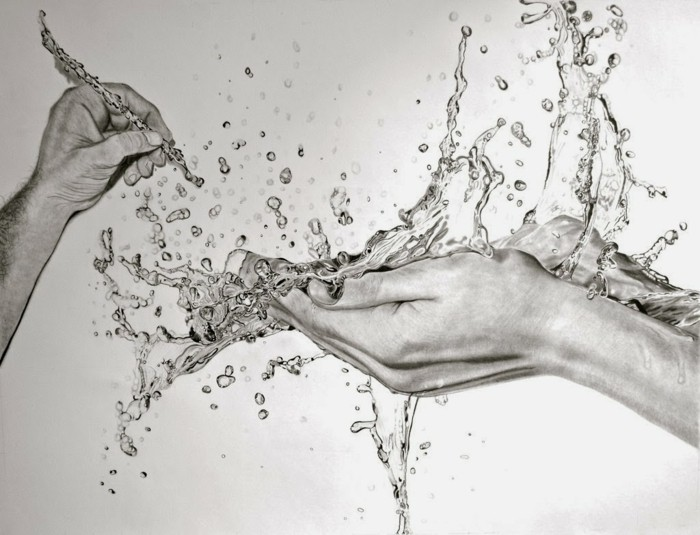 loisir créatif pour grands et petits avec peu de matériel, dessin au crayon à design eau et mains de femme et d'homme