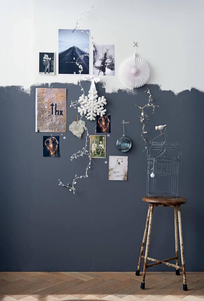 Gris et blanc peinture pour le mur et photos décoration murale, couleur peinture chambre, idée comment peindre un mur