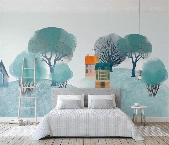 Peinture village avec arbres et maisons, lit double gris, échelle de rangement, couleur chambre adulte, inspiration couleur peinture chambre