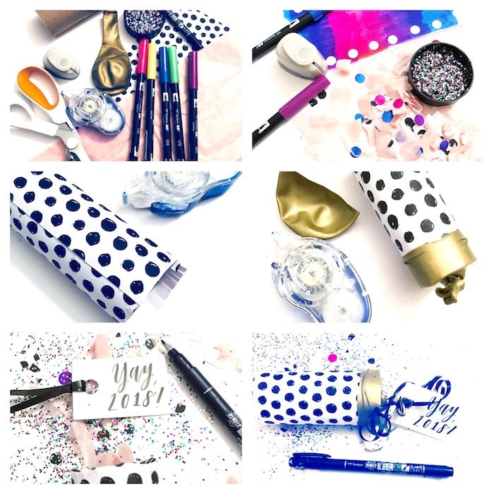 tuto canonsà confettis à faire soi meme, bricolage rouleau de papier toilette facile et ballon