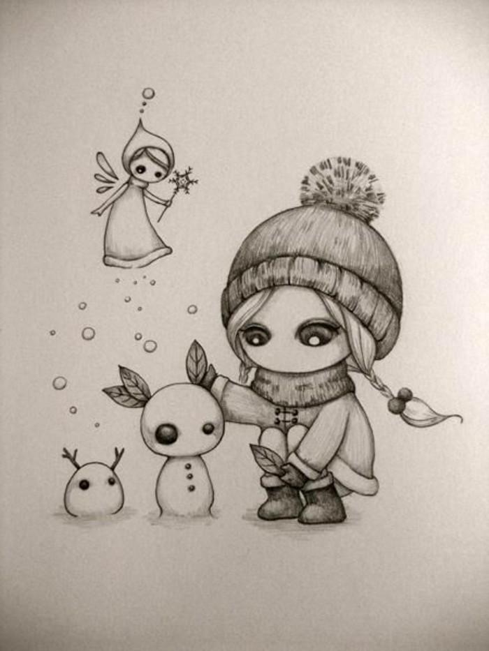 dessin facile de petite file sous la neige dans la compagnie des bonhommes de neige et d'une petite fée volante