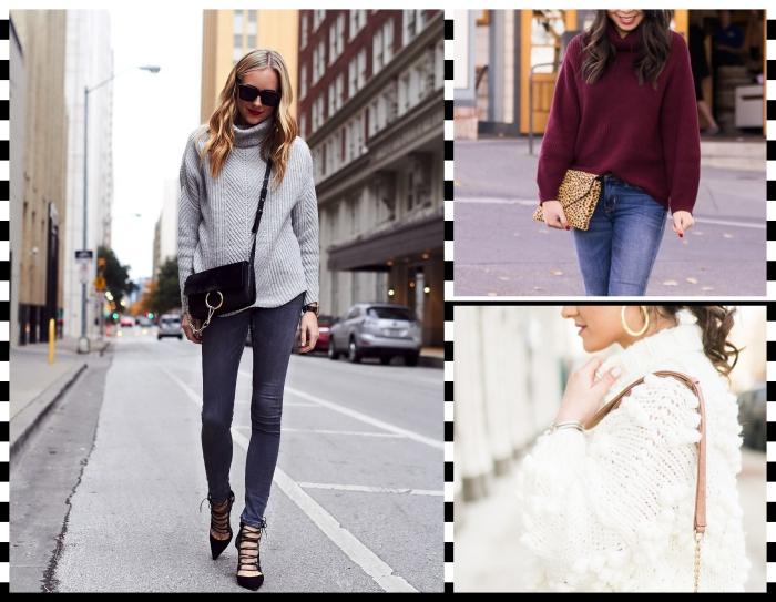 look femme d'hiver casual chic avec pull-over et pantalon slim, tenue d'hiver en pull col roulé femme et jeans foncés