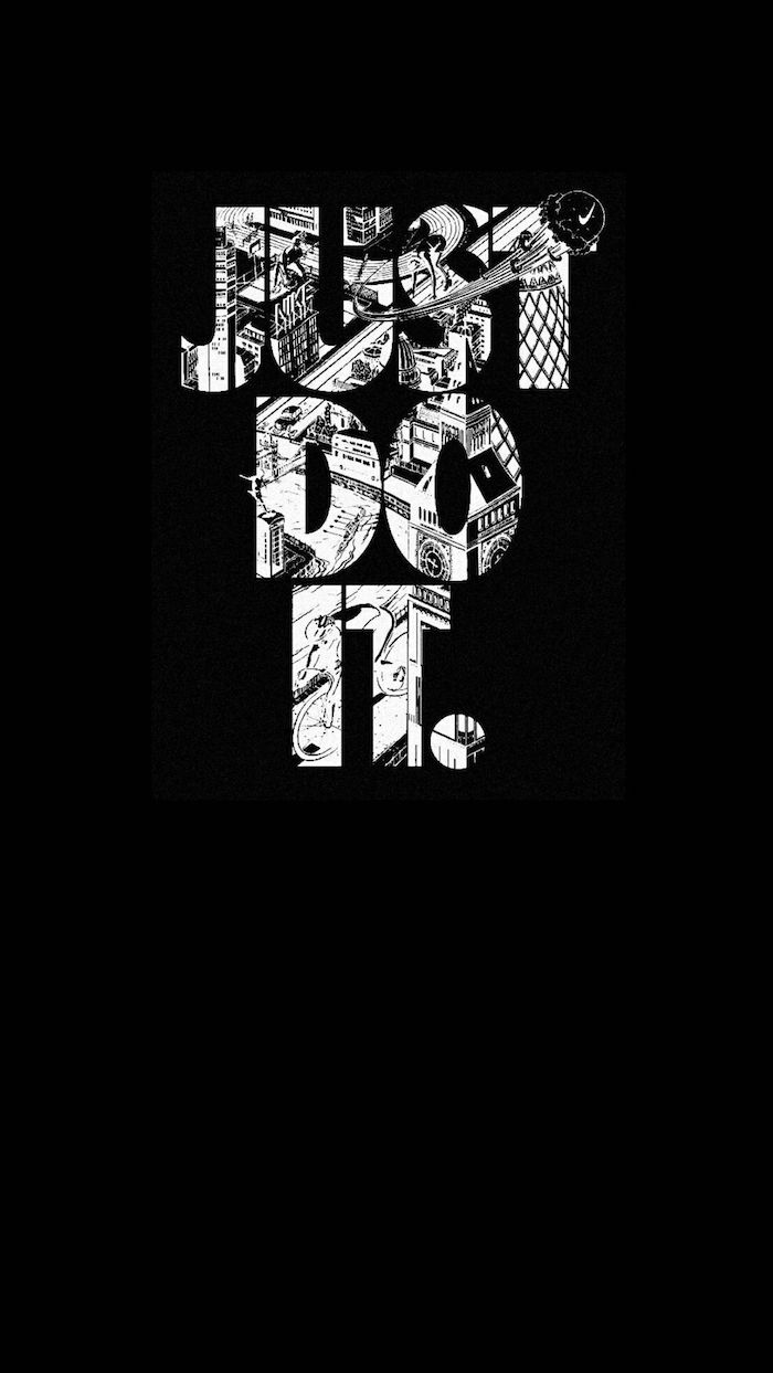 Nike fond ecran paysage noir et blanc, idée desktop photo, just do it graphique image
