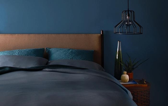 choix de peinture chambre adulte tendance 2019, décoration chambre masculine aux murs bleus avec accents marron
