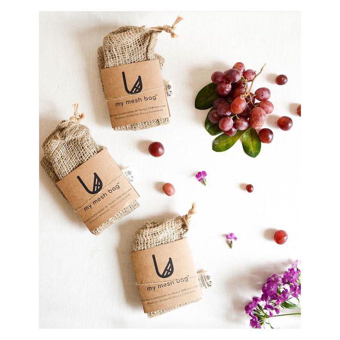Mesh bag pour faire ses achats, sac réutilisable pour les fruits et les légumes, idée cadeau a fabriquer sois meme, cadeau bio pour femme