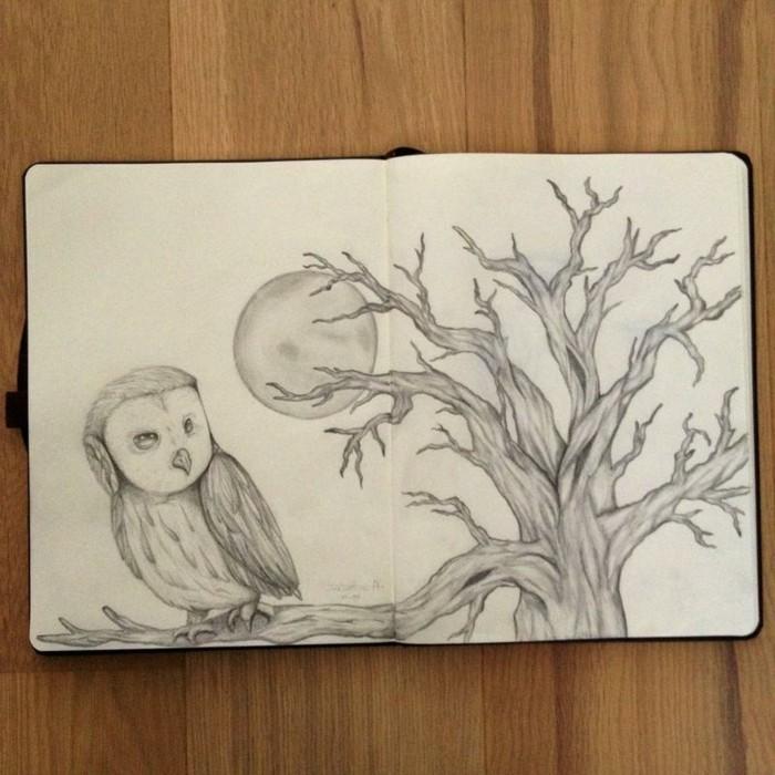 apprendre à reproduire une image de livre ou de film sur papier blanc, dessin facile à faire sur thème paysage nocturne