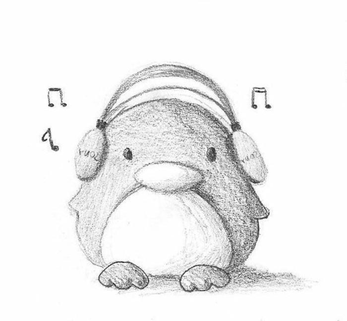exemple de dessin tres facile à reproduire, idée de dessin d'animal mignon en version pingouin avec headphones sur la tête