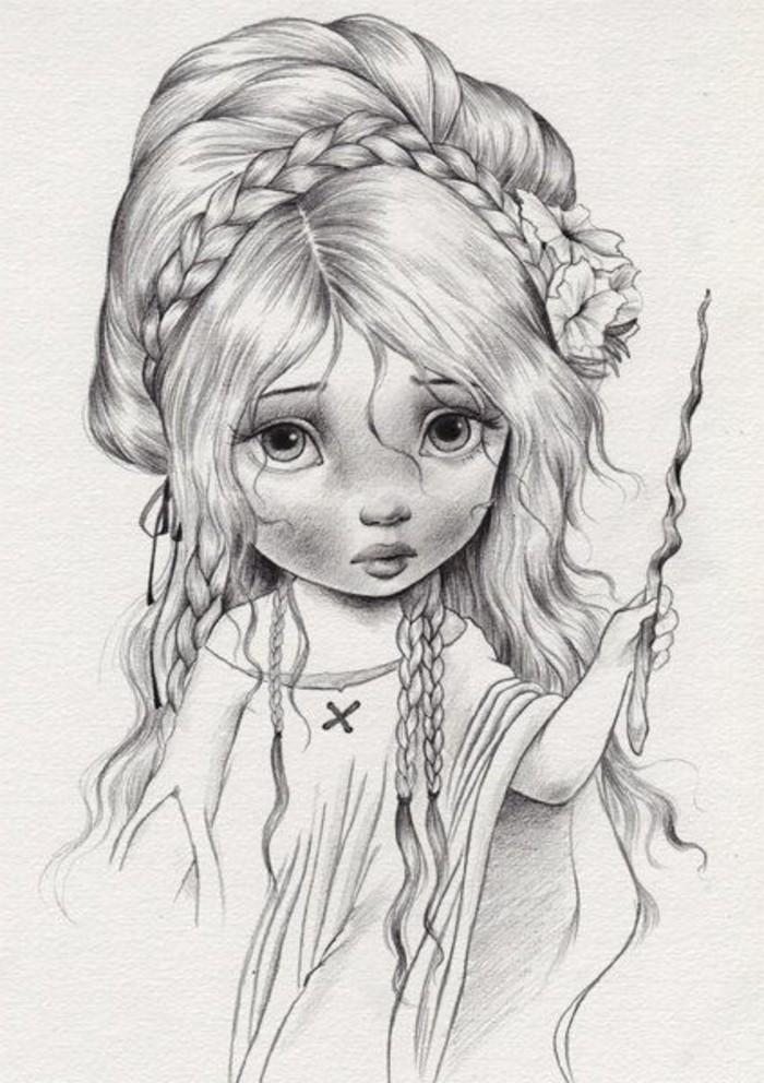 apprendre à dessiner une fille aux cheveux longs, exemple de dessin au crayon facile à effet réaliste à l'aide de la technique d'ombrage