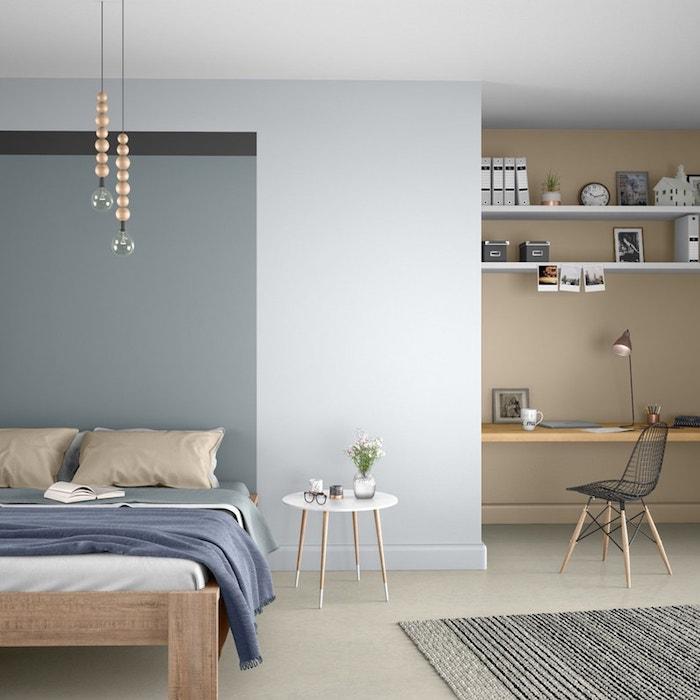 Gris et blanc chambre à coucher originale, coin bureau avec étagères, quelle couleur pour une chambre, la meilleure idée peinture chambre