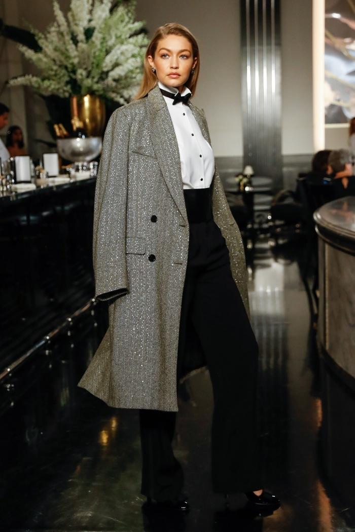 style vestimentaire femme élégante en pantalon fluide taille haute noir et chemise blanche, tenue classe femme en blanc et noir