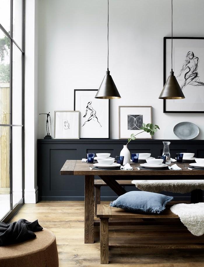 Table en bois et banc salle à manger, couleur chambre parentale, idée couleurs qui s'associent bien, peinture graphique dans cadre pour déco murale