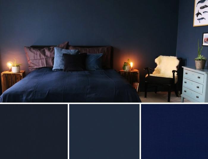 exemple de couleur peinture chambre adulte de nuance bleu foncé, aménagement chambre foncée avec accents en bois