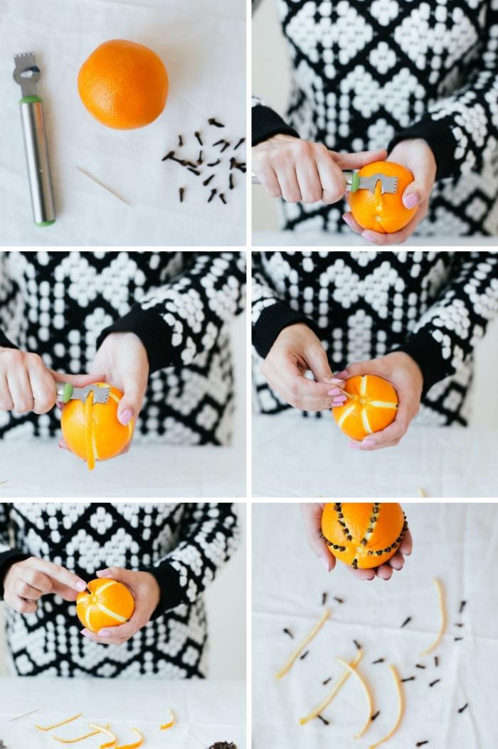 étapes à suivre pour réaliser une deco de table pour noel facile avec fruits, exemple comment peler le zeste d'orange