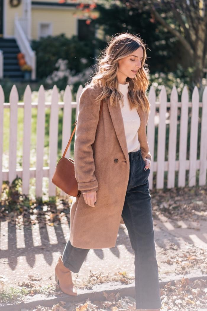 modèle de manteau long couleur marron tendance 2019, idée look chic en pantalon foncé et pull stylé blanc