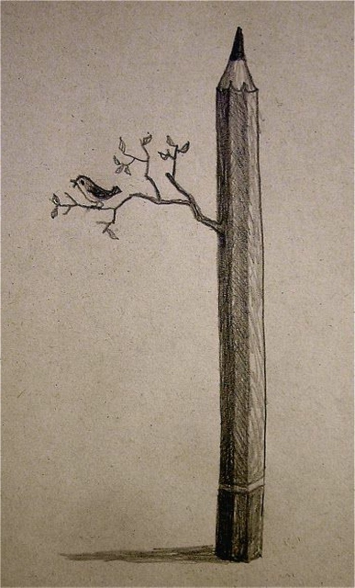 idée de dessin au crayon facile, modèle de dessin féerique avec un crayon en forme d'arbre avec branches et petit oiseau