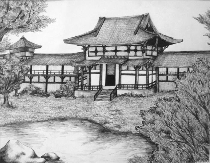 exemple de dessin de paysage facile, comment bien dessiner au crayon, dessin en détails à design nature et maison
