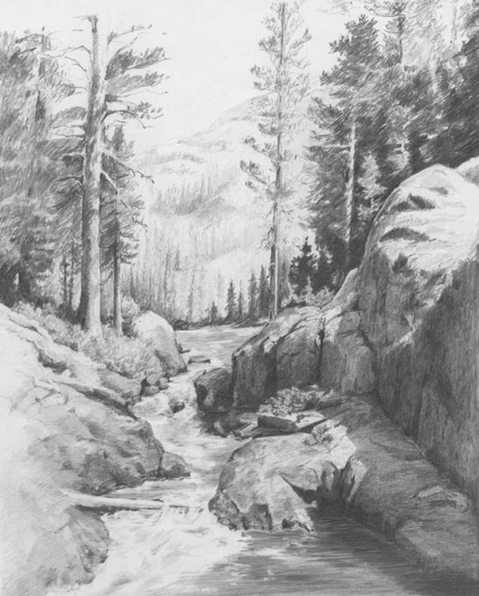 idée de dessin de paysage facile à réaliser au crayon, paysage naturel aux différents types de crayon sur papier blanc