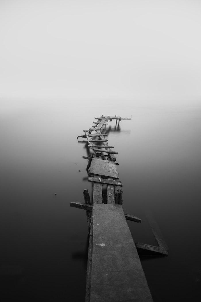 Paysage abandonné noir et blanc, arriere plan en deux couleurs brouillard au bord d'un lac