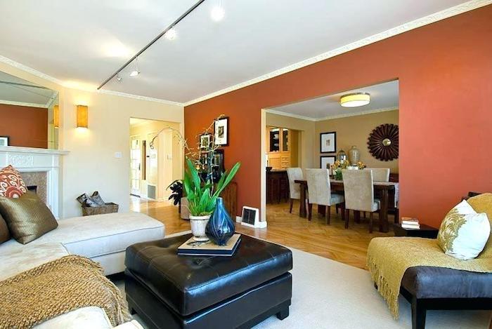 Orange et blanc murs dans un salon moderne, peinture chambre adulte 2 couleurs, couleur chambre adulte