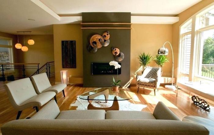 Chambre orange, taupe et blanc, peindre une chambre en deux couleurs, canapé beige vintage