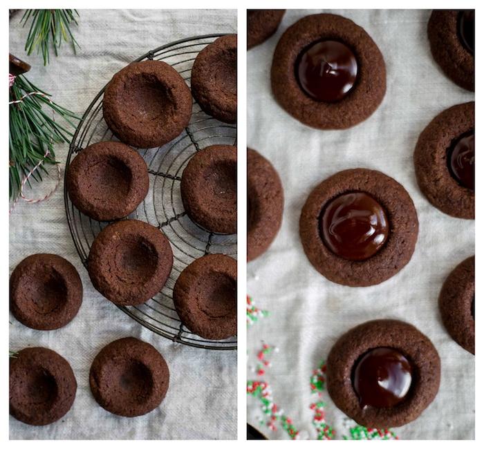 comment faire des sablés de noel, idee de cookies avec centre de chocolat, recette biscuit de noel double chocolat