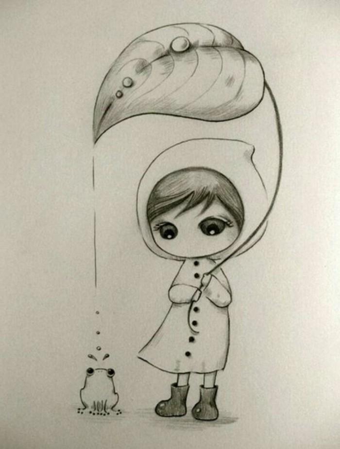 idée de dessin facile a faire pour enfants, apprendre à dessiner une petite fille et animaux, dessin de fille et de grenouille